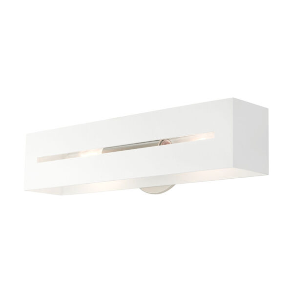 Soma Textured White and Brushed Nickel Two-Light ADA Wall Sconce, image 6