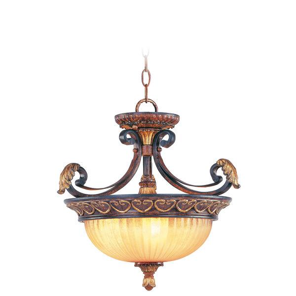 Villa Verona Bronze Three-Light Ceiling Mount/Chain Hung Fixture, image 1