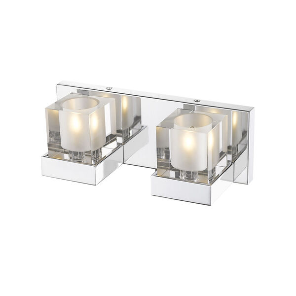 Fallon Chrome Two-Light Vanity With Transparent + Frosted Crystal, image 3