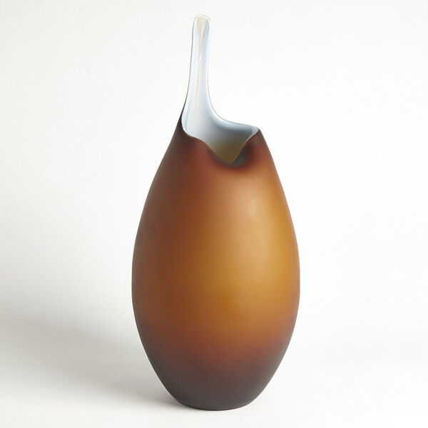 Frosted Amber and Blue Casing Vase, image 5