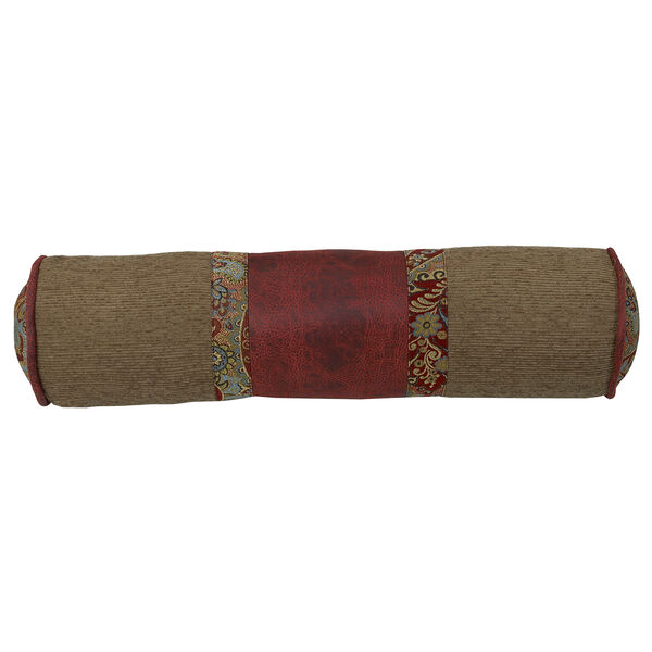 San Angelo Tan and Red Faux Leather 7 x 26 In. Neck Roll, image 1