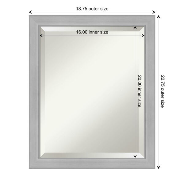 Vista Brushed Nickel 19W X 23H-Inch Bathroom Vanity Wall Mirror, image 6