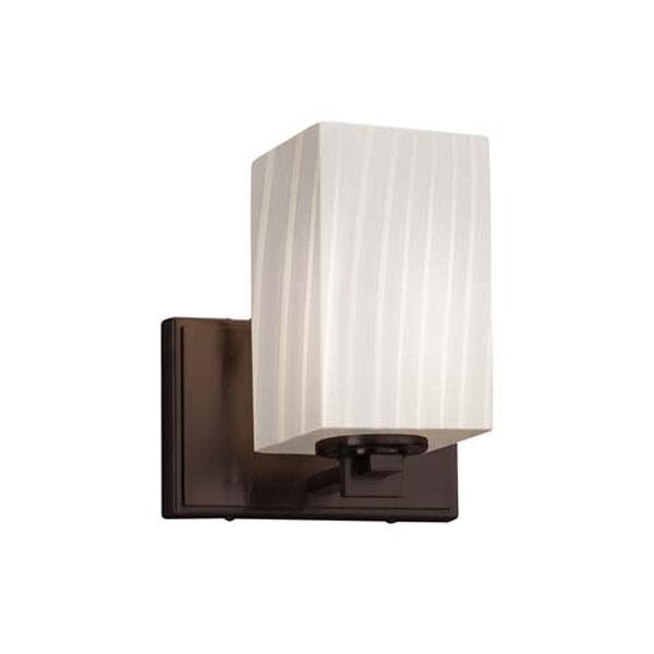 Fusion - Era Dark Bronze LED LED Wall Sconce with Square Flat Rim Ribbon Shade, image 1