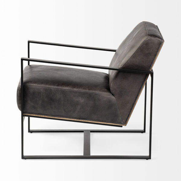 Stamford I Ebony Leather Wrapped Arm Chair, image 4