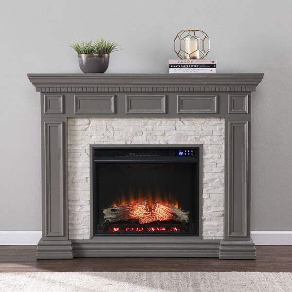 Dakesbury Gray Faux Stone Electric Fireplace, image 1