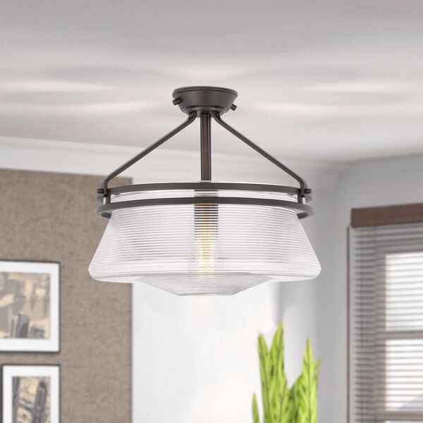 OKeefe Oil Rubbed Bronze One-Light Embossed Glass Semi-Flush Mount, image 3