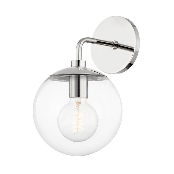 Meadow Polished Nickel One-Light Wall Sconce with Clear Glass, image 1