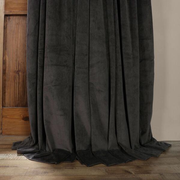 Gunmetal Gray 120 x 100-Inch Doublewide Blackout Velvet Curtain, image 5