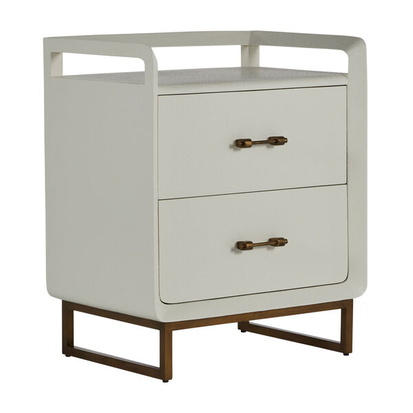 Quentin Faux White and Brushed Gold Nightstand, image 1