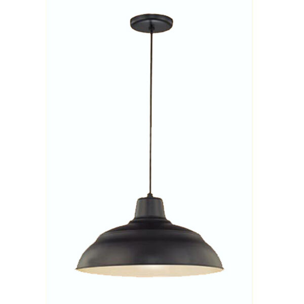 R Series Satin Black 17-Inch Warehouse Cord Hung Outdoor Pendant, image 1
