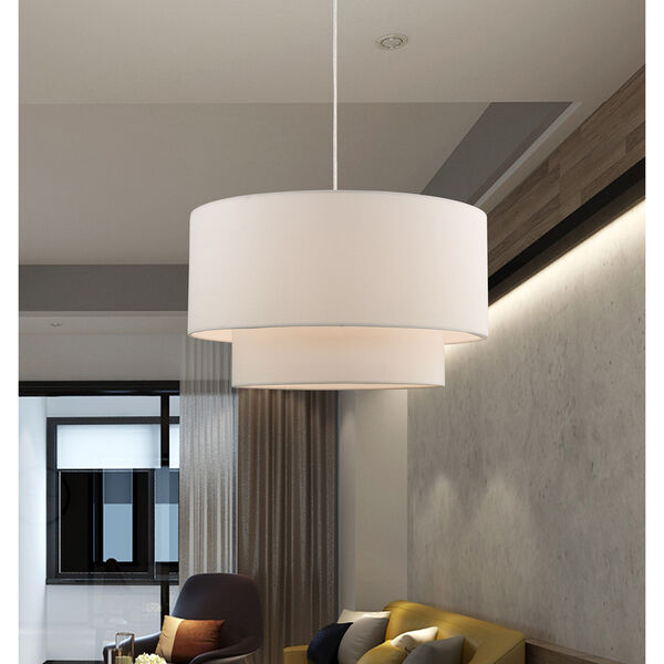 Clark Brushed Nickel 20-Inch One-Light Pendant Chandelier with Hand Crafted Off-White Hardback Shade, image 6