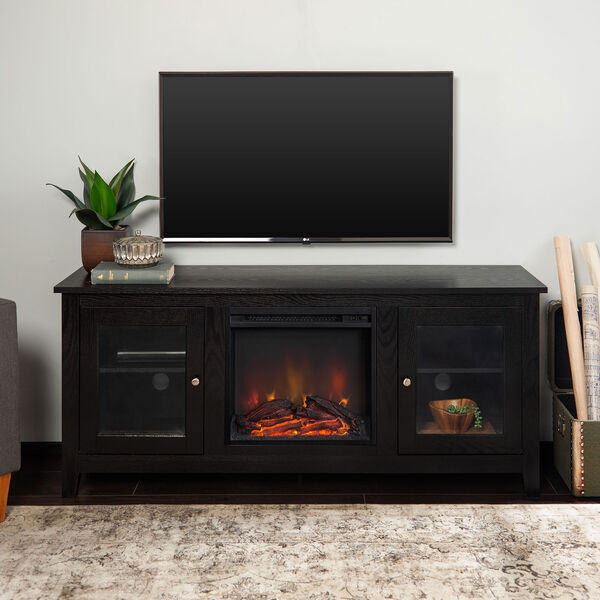 58-inch Black Wood Fireplace TV Stand with Doors, image 1