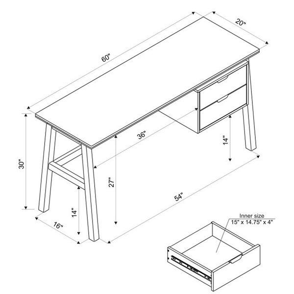 Santiago Natural Desk with Side Storage, image 2