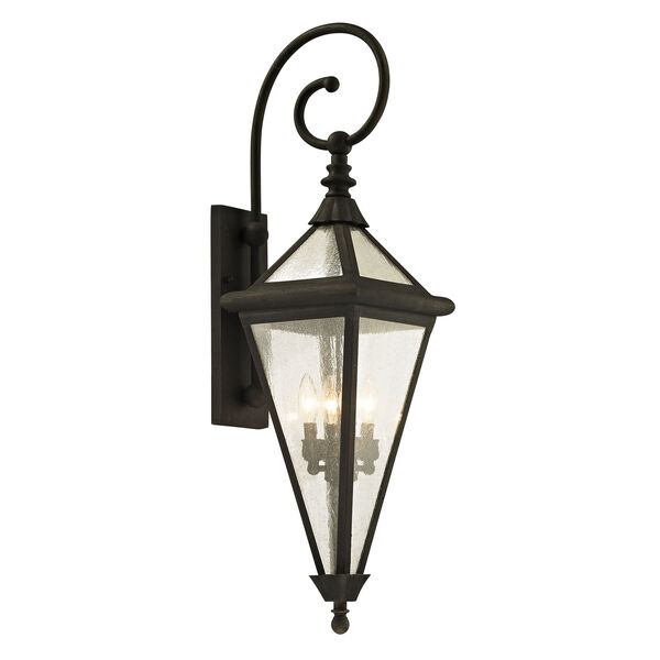 Geneva Vintage Bronze Large Four-Light Outdoor Wall Sconce with Clear Seeded Glass, image 1