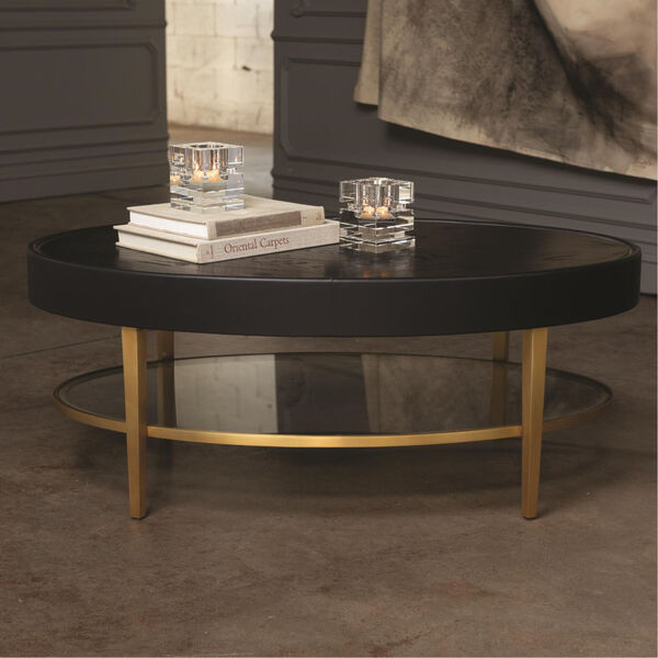 Ellipse Black and Gold Cocktail Table, image 6