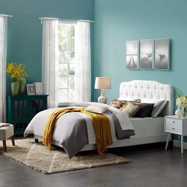Whittier White Full Upholstered Fabric Bed, image 5
