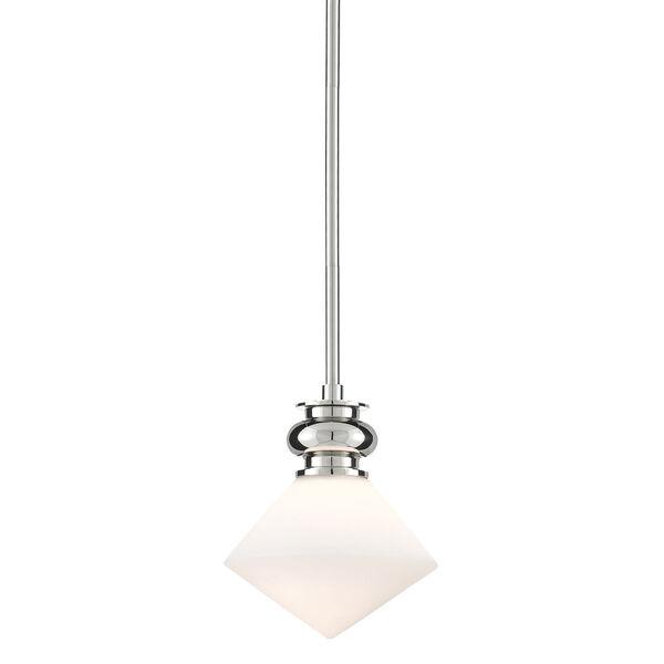 Rycroft Polished Nickel and White One-Light Mini Pendant, image 1