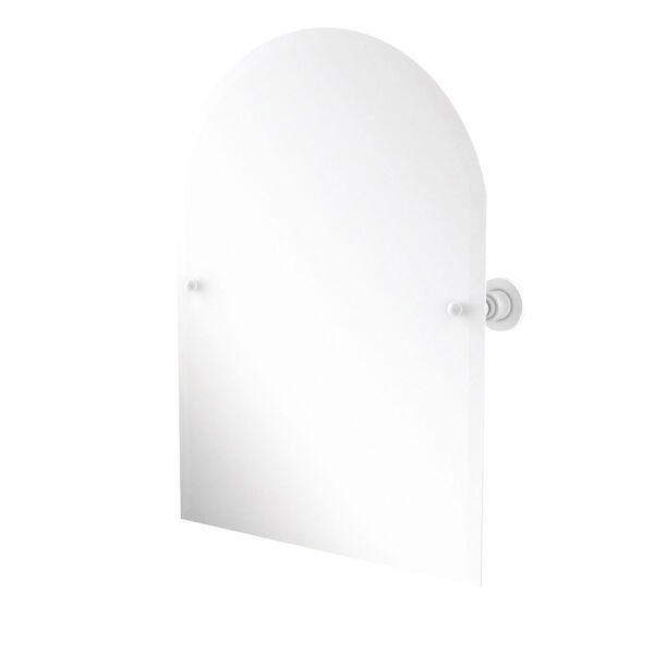 Astor Place Matte White 21-Inch Frameless Arched Top Tilt Mirror with Beveled Edge, image 1