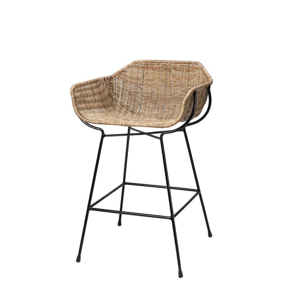Nusa Natural Rattan and Black Steel Counter Stool, image 1