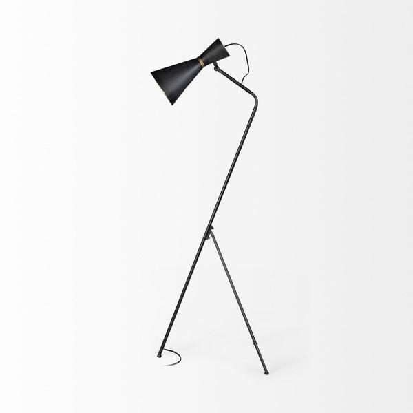 Eris III Black and Brass One-Light Floor Lamp, image 4
