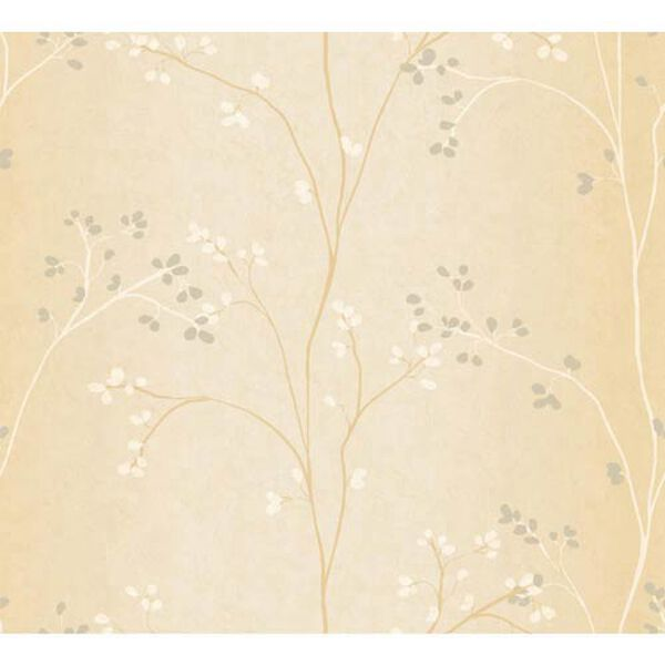 Inspired by Color Bisque, White and Gold Pearl Metallic Wallpaper, image 1