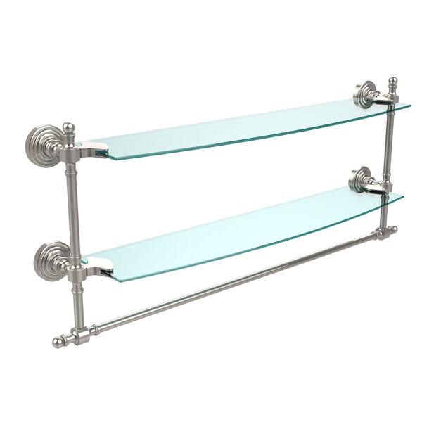Retro Wave Polished Nickel 24 Inchx5 InchDouble Shelf w/ Towel Bar, image 1