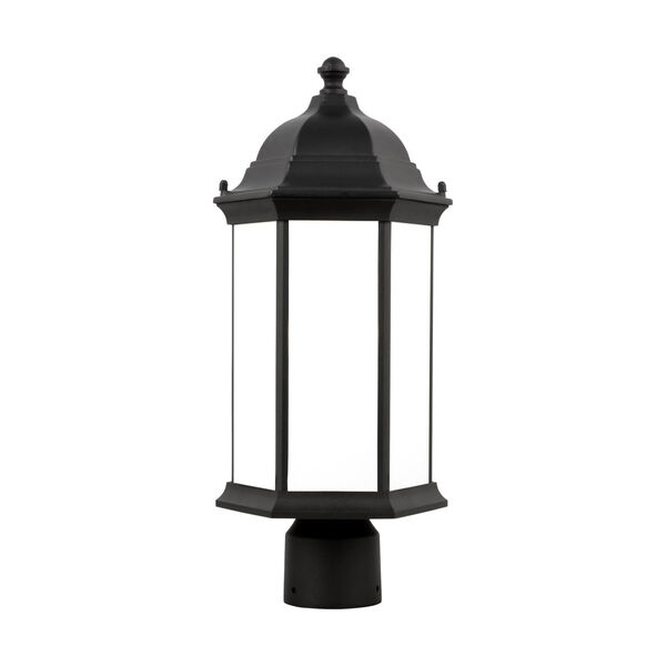 Sevier Black One-Light Outdoor Post Mount with Satin Etched Shade, image 1