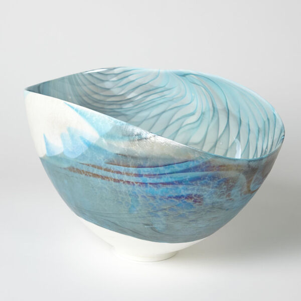 Ivory and Turquoise 12-Inch Feather Swirl Oval Bowl, image 2