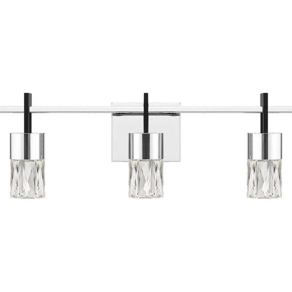 Adena Polished Chrome Three-Light LED Bath Vanity, image 2