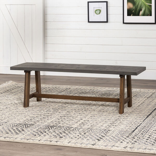 Brennan Gray and Brown Dining Bench, image 1