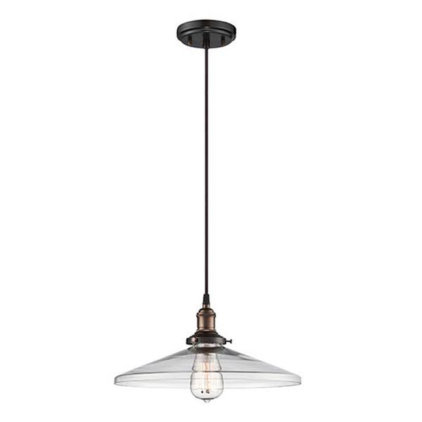 Vintage Rustic Bronze One-Light 14-Inch Wide Dome Pendant with Cone Shaped Clear Glass, image 1