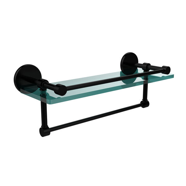 16 Inch Gallery Glass Shelf with Towel Bar, Matte Black, image 1