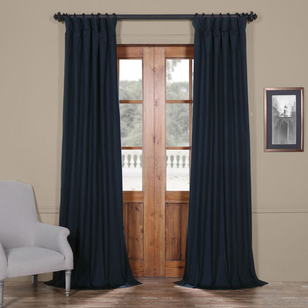 Polo Navy 50 x 84-Inch Solid Cotton Blackout  Curtain, image 1