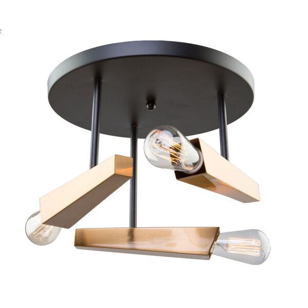 Olympia Black and Satin Brass Three-Light Semi Flush Mount, image 1