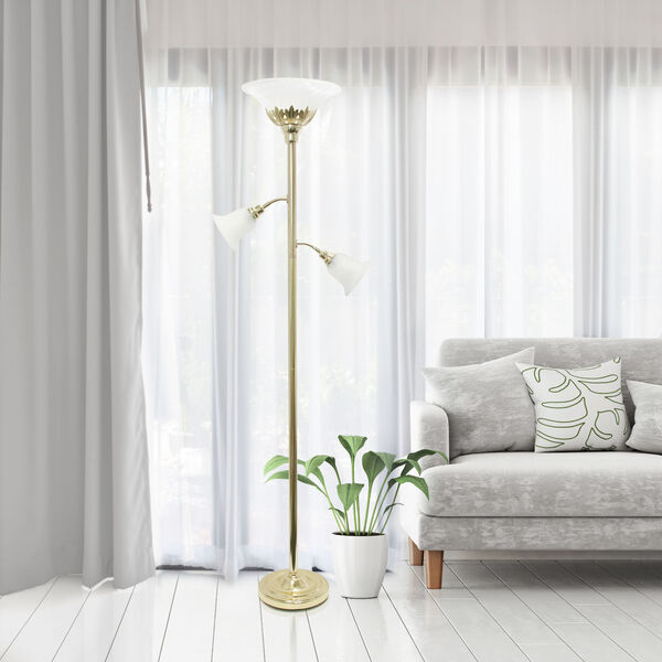 Quince Gold White Shade Three-Light Floor Lamp, image 4