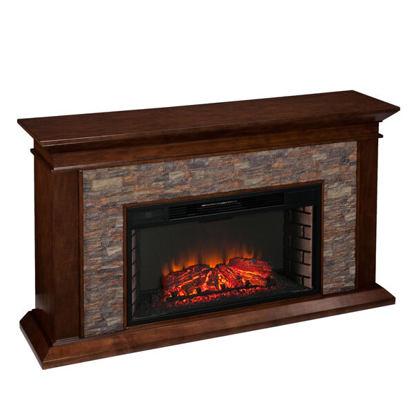 Canyon Whickey Maple Simulated Stone Electric Fireplace, image 1