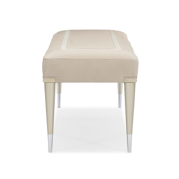 Caracole Classic Soft Silver Paint and Beige Boarding on Beautiful Bench, image 3
