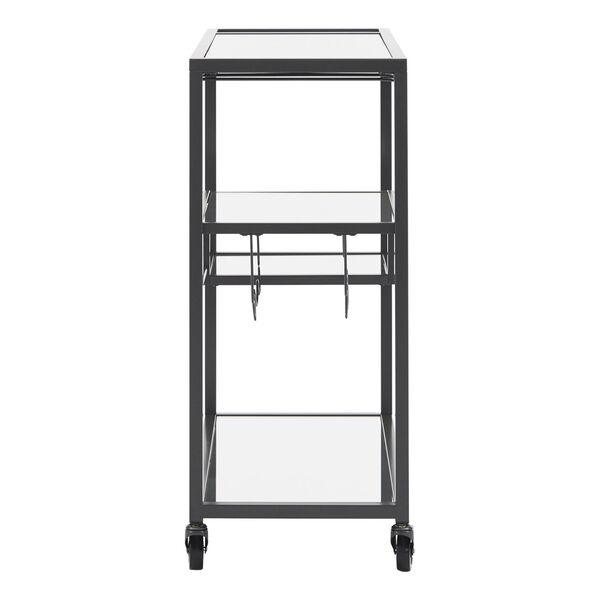 Juan Black Glass Top Metal Bar Cart, image 3