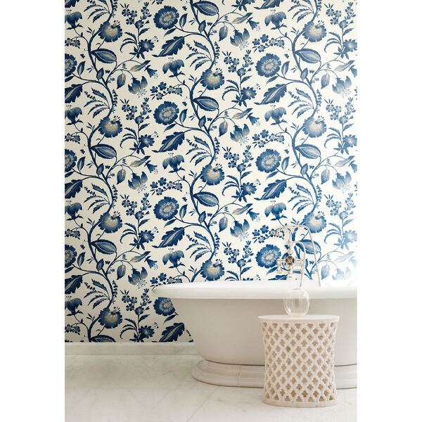 Ashford House Tropics Off-White and Blue Watercolor Jacobean Wallpaper, image 5