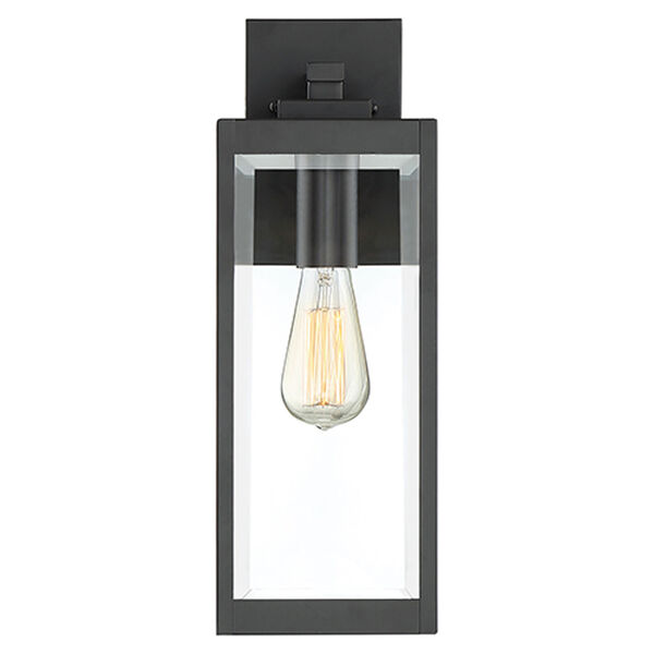 Pax Black 17-Inch One-Light Outdoor Wall Lantern with Beveled Glass, image 3