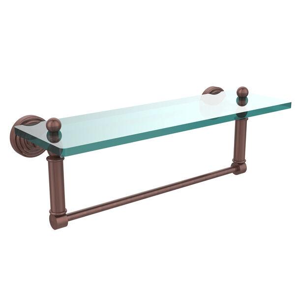 Waverly Place Antique Copper 16x5 Glass Shelf w/ Towel Bar, image 1