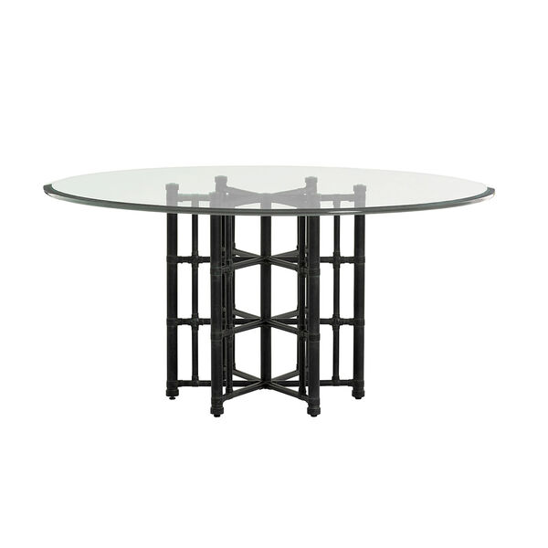 Twin Palms Black Stellaris Dining Table with 60 In. Glass Top, image 1