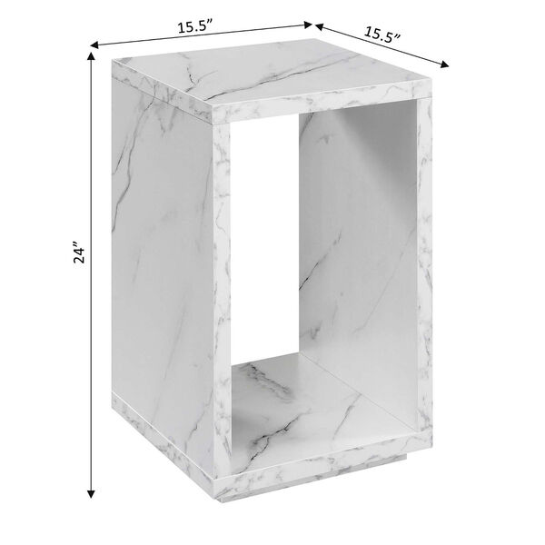 Northfield Admiral White Faux Marble End Table with Shelf, image 6