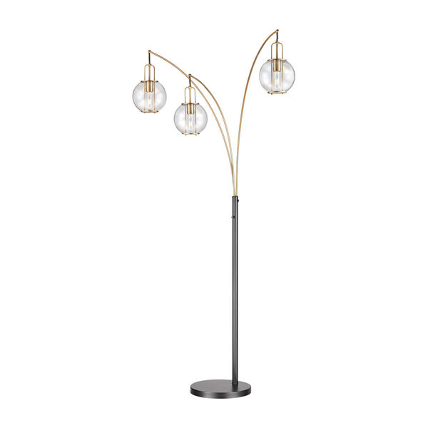 Kaira Black Three-Light Arc Floor Lamp, image 1