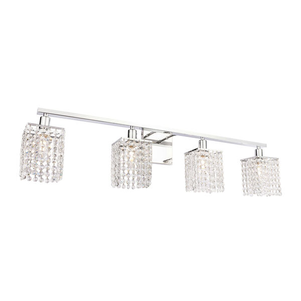 Phineas Chrome Four-Light Bath Vanity with Clear Crystals, image 4
