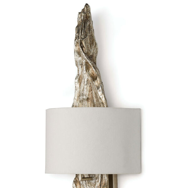 Modern Glamour Ambered Silver Leaf Two-Light Wall Sconce, image 2