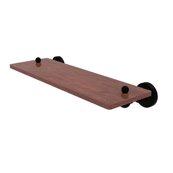 Waverly Place Matte Black 16-Inch Solid IPE Ironwood Shelf, image 1