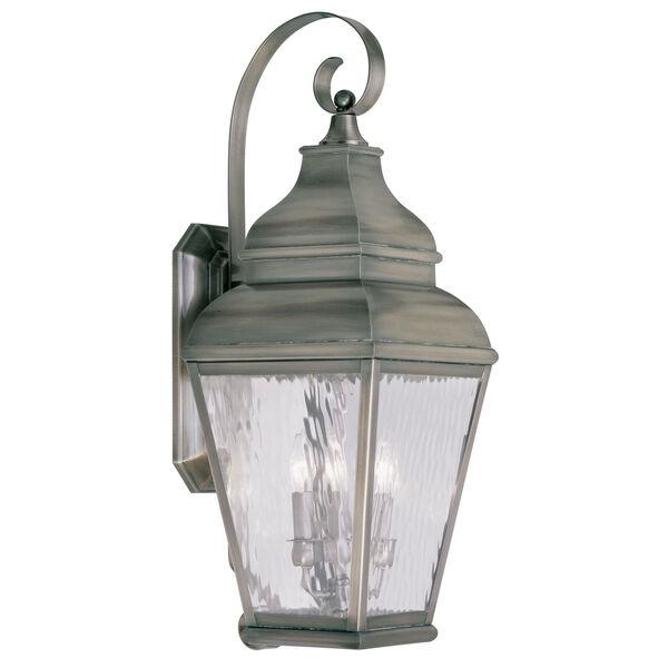 Exeter Vintage Pewter Three-Light Outdoor Wall Lantern, image 1