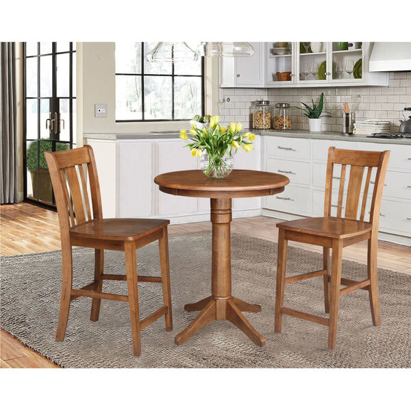 San Remo Distressed Oak 30-Inch Round Pedestal Gathering Table with Two Counter Height Stool, Set of Three, image 1