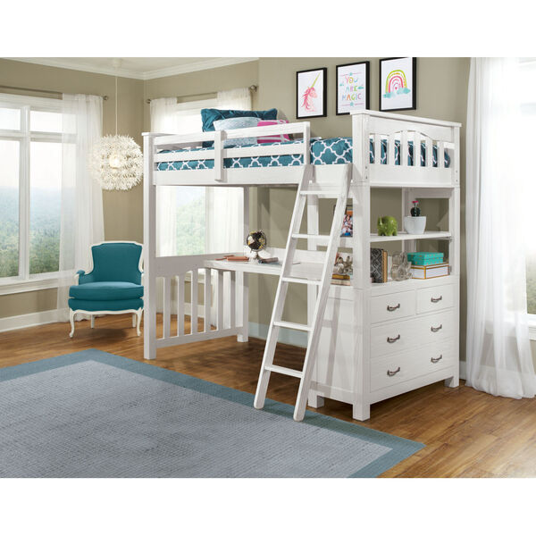Highlands White Twin Loft Bed With Desk, image 1